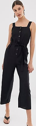 Warehouse linen jumpsuit with buttons in black