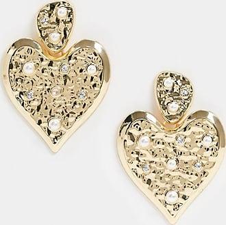 Pieces Orecchini a cuore martellati oro con perle