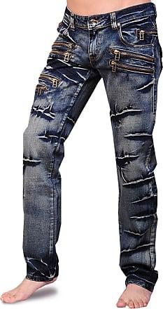 Jeansian Mens Designed Straight-Leg Washed Denim Jeans Trousers Pants J009 W30