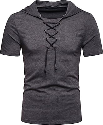 Whatlees Mens Casual Short Sleeve Jacobite Ghillie Shirt Hip Hop Lace-up Hooded T-Shirt 02010041XDarkGray+XXL