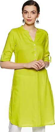Indigo Womens Synthetic Straight Kurti (SS19/IND-507_ Lime_ L)