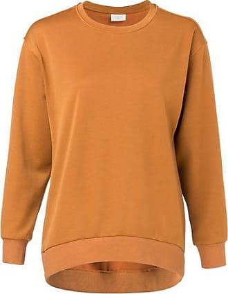 YaYa Runder Halsausschnitt und längliche Rückseite Glänzender Jersey-Pullover - L - Orange