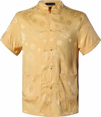 Jeansian Mens Chinese Traditional Tang Shirt Dragon Kung Fu Tai Chi Short Sleeve Tops L900 Yellow M