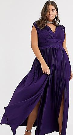 Asos Curve ASOS DESIGN - Curve - Premium - Plissiertes Maxikleid mit Spitzeneinsatz-Violett