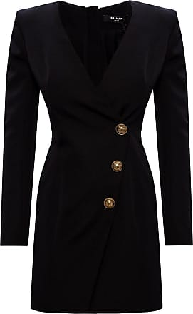 Balmain Wool Dress With Logo Womens Black
