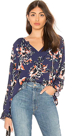 Splendid Painted Floral Blouse in Navy