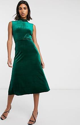 Warehouse velvet dress with high neck in green-Black
