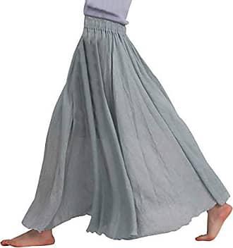 92c553ccd560de Feoya Frauen Bohemian Elastische Taille Sommerrock Baumwolle Leinen Lange  Maxi Rock Plissee Retro Faltenrock