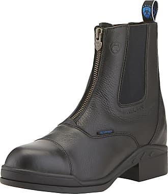 Ariat Womens Heritage II Zip Paddock Steel Toe Boot in Black Leather, B Medium Width, Size 3.5, by Ariat