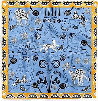Cyclades Silk Scarves Jungle in Blue(45 x 45 cm)