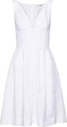Oscar De La Renta Oscar De La Renta Woman Pleated Printed Cotton Dress White Size 10