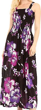 Sakkas TH2024 - Naida Womens Casual Summer Long Sleeveless Stretchy Floral Print Dress - B-Purple - OS