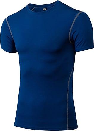 YiJee Mens Compression Quick Dry Elastic Athletic Short Sleeve T Shirt Blue 3XL