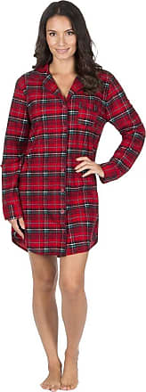 Forever Dreaming Womens Forever Dreaming Soft Flannel Nightshirt 34B774 Red/Black Check L