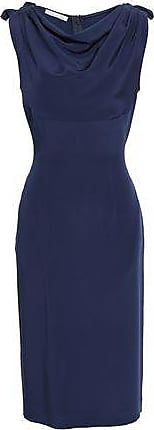 Oscar De La Renta Oscar De La Renta Woman Draped Silk-crepe Dress Navy Size 10