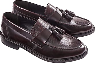 Ikon Mens Weaver Slip On Loafers Shoes - Bordo - 10 UK