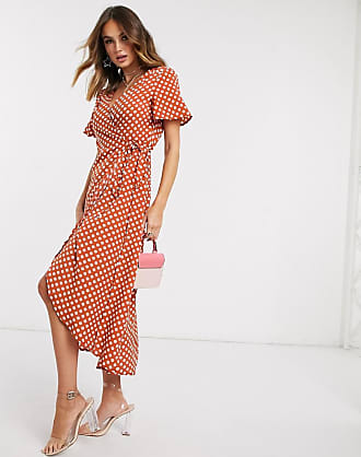 Missguided high low wrap dress in polka dot-Multi