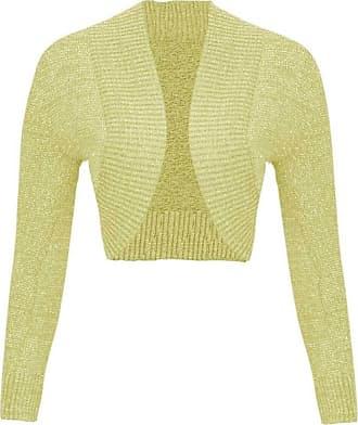 Islander Fashions Women Ladies Long Sleeve Knitted Metallic Lurex Shrug Cardigan Bolero Crop Top (1X-Large, Yellow)