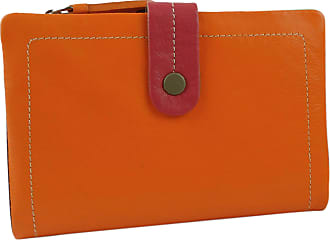 Visconti Ladies Leather Soft Tabbed Bi-Fold Purse/Wallet Mimi Gift Boxed (Orange Multi)