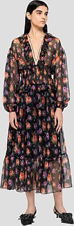 Msgm roses print long dress in silk