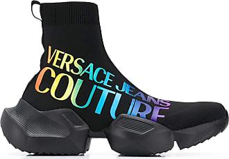 Versace Jeans Couture Tênis meia com estampa de logo - Preto