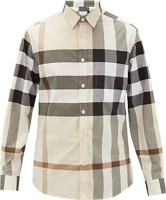 Burberry Somerton Nova-check Cotton-blend Poplin Shirt - Mens - Beige Multi