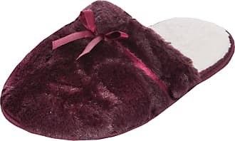 Forever Dreaming Womens Mule Slippers | Memory Foam Support | Sizes 3-8 | Faux Fur Ribbon Slip On Burgundy 5