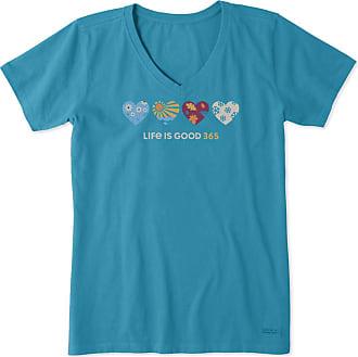 Life is good Womens Hearts Crusher Vee XXXL Seaport Blue
