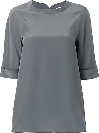 Aspesi Blusa de seda com mangas 3/4 - Cinza