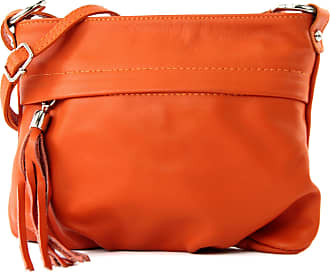 modamoda.de modamoda - ital. Shoulder Bag Handbag shoulder bag ladies bag leather mini T32, Colour:orange1