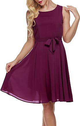 Zeagoo Women Summer Chiffon Sleeveless A-line Pleated Party Cocktail Dress With Belt XX-Large Purple Red