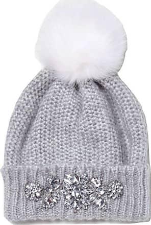River Island Ladies Grey Jewel Embellished Bobble Hat