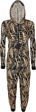 WearAll Womens Animal Aztec Zebra Print Onesie Ladies Playsuit Long Hooded Jumpsuit - Snake Print - 12/14