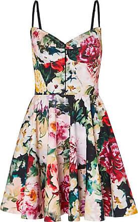 ef1dcf7251fba7 Dolce & Gabbana Minikleid Aus Einer Baumwollmischung Mit Blumendruck Und  Falten - Elfenbein