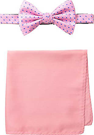 Steve Harvey Mens Neat Woven Bowtie and Solid Pocket Square, Pink, One Size