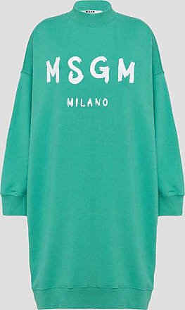 Msgm fleece dress with paint brushed logo