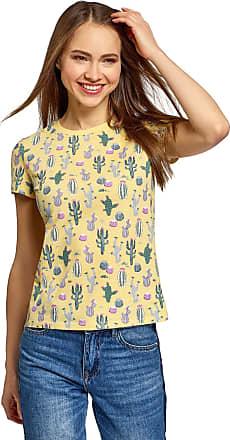 oodji Womens Printed Crew Neck T-Shirt, Yellow, L
