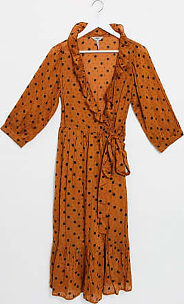 Object wrap dress with ruffle front in rust spot-Brown