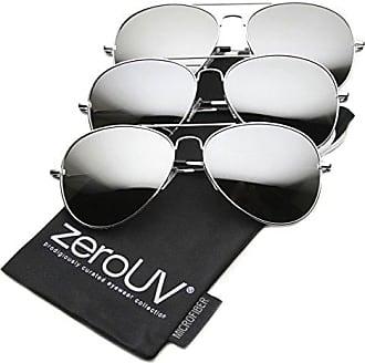 d883cb4c4 zeroUV Premium Mirrored Aviator Top Gun Sunglasses w/ Spring Loaded  Temples, (3-