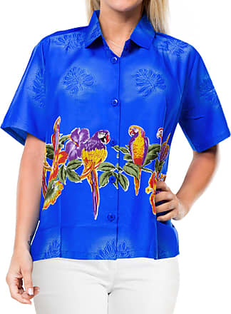 La Leela Womens Hawaiian Blouse Top Collar Short Sleeve Button Down V Neck Casual Work Yoga Shirt Summer Holiday M-UK Size:18-20 Blue_X60