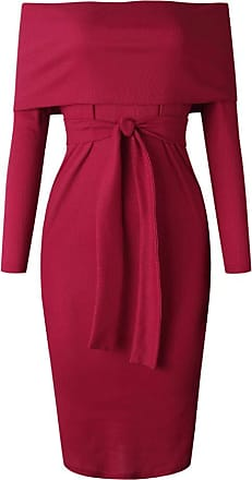 Kobay Womens Fashion Long Sleeve Cold Shoulder Dress Evening Party Dress with Belt (UK:10,Wine Red )