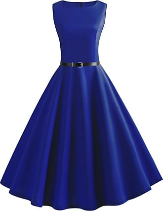 QUINTRA Women Vintage Sleeveless V Neck Evening Printing Party Prom Swing Dress (M, Blue 9439)