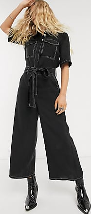 Object utility jumpsuit with contrast stitch and wide leg in black