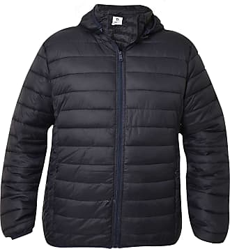 True Face Mens Quilted Jackets with Hood Collared Padded Coats Winter Puffer Outerwear Navy XX-Large