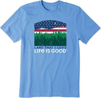 Life is good Mens Land That I Love Crusher Tee L Carolina Blue