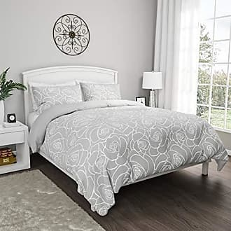 Trademark Lavish Home Collection 3-Piece Comforter and Sham Set - Bed of Roses Reversible, Hypoallergenic and Soft Microfiber Floral Down Alternative Bedding (Full/Queen)