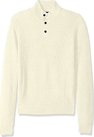Perry Ellis Mens Solid Textured Mock Neck Sweater, Cream, Small