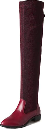 Generic Winter Over The Knee Boot Women Low Heel Flat Warm Long Shoes Outdoor Waterproof Anti Slip Ladies Thigh High Boot Red