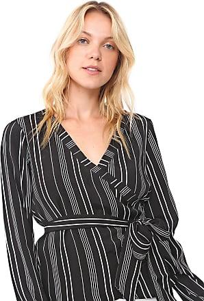 Vero Moda Blusa Vero Moda Transpassada Listrada Preta