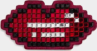 Anya Hindmarch Lips Diamante Sticker Suede in Red